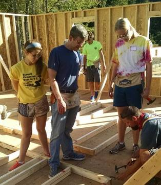 High School Youth Group volunteering for Habitat
