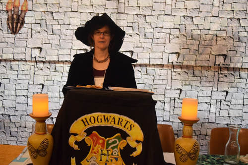 Seldon Holt as Headmistress at Hogwarts on the Hill camp