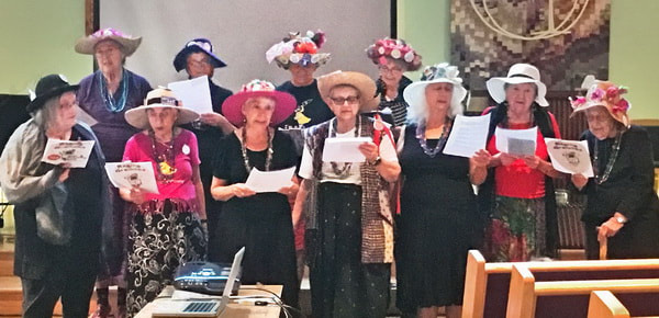 The raging Grannies perform at the Peace and Justice Comittee's outreach event